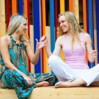 Two young women having fun outdoors